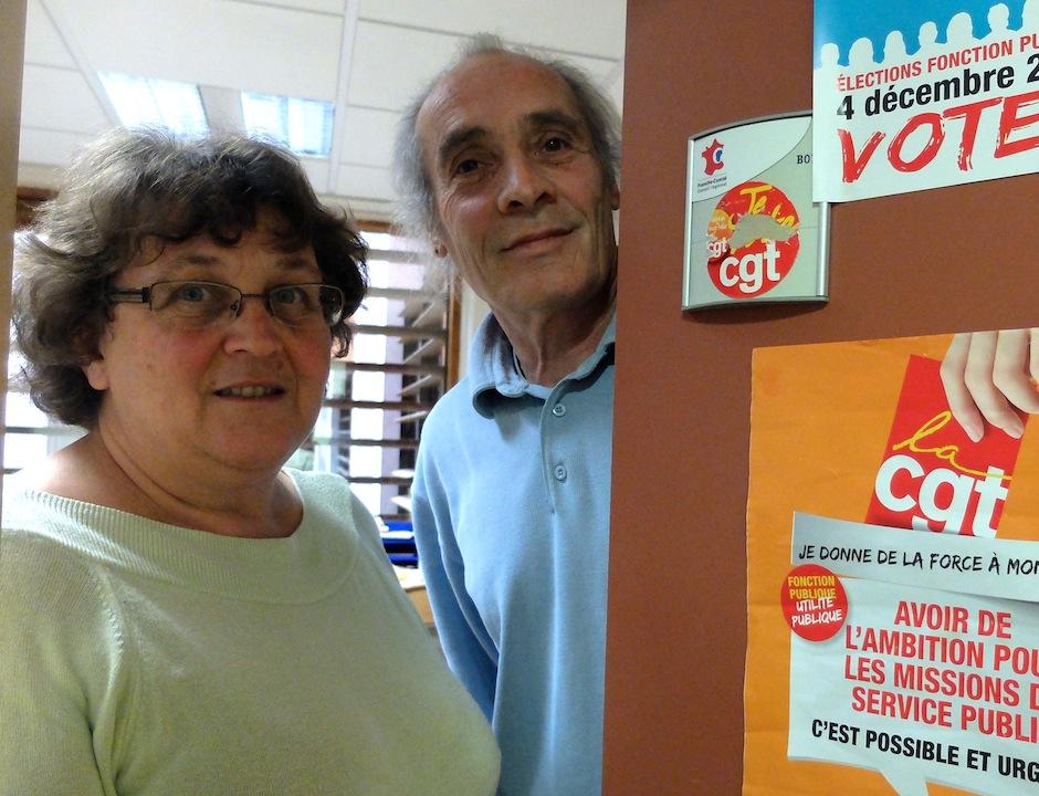 Catherine Salvadori et Gilles Roussel, militants CGT au Conseil régional de Franche-Comté.