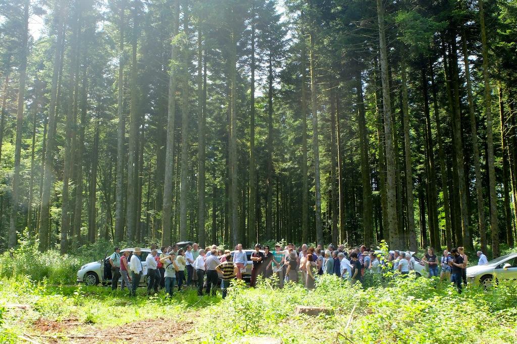 Les participants au débat public du projet de center parcs de Poligny, samedi 13 juin sur le site.