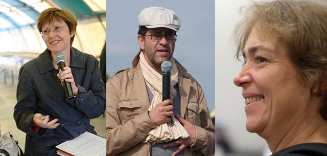 Nathalie Vermorel (PCF, à gauche) et Cécile Prudhomme (EELV, à droite) ont été désignées têtes de liste de leur parti... Gabriel Amard (PG, au centre) assure qu'il a déjà donné et n'est candidat à rien.