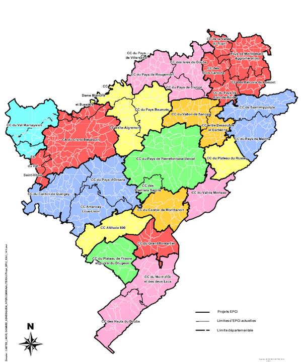 Le projet de nouvelle carte des communautés de communes du Doubs.