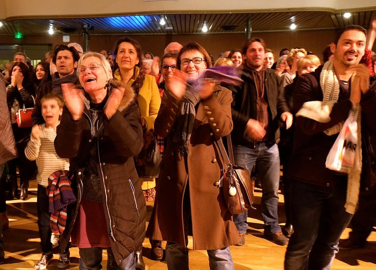 20 heures au Kursaal de Besançon. La joie des sympathisants socialistes. Photos D.B.