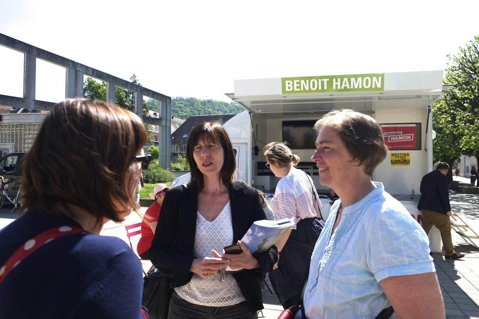 Anne-Sophie Andriantavy, en grande conversation sur la recomposition de la gauche avec Cécile Prudhomme et Claudine Caulet. (Photos Daniel Bordur)