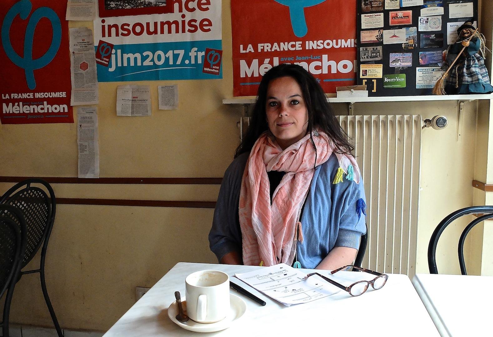 Claire Arnoux, la France insoumise, candidate aux législatives dans le Doubs, à Besançon, photo Daniel Bordur