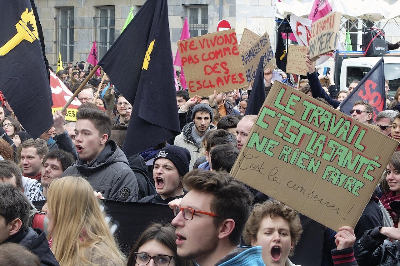 Manifestation contre la loi El Khomri le 9 mars 2016 à Besançon (photo d'archives DB).