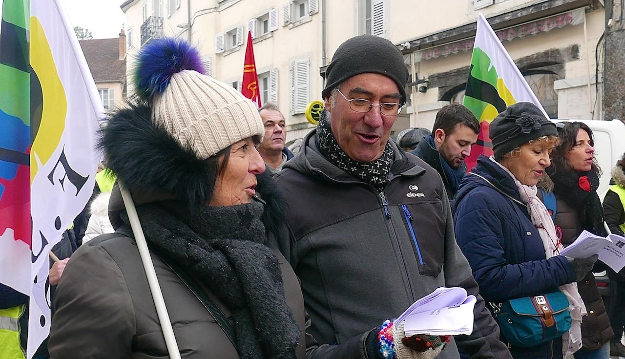 Springsfields Marin dans la manifestation du 24 janvier à Lons-le-Saunier. (photo DB)